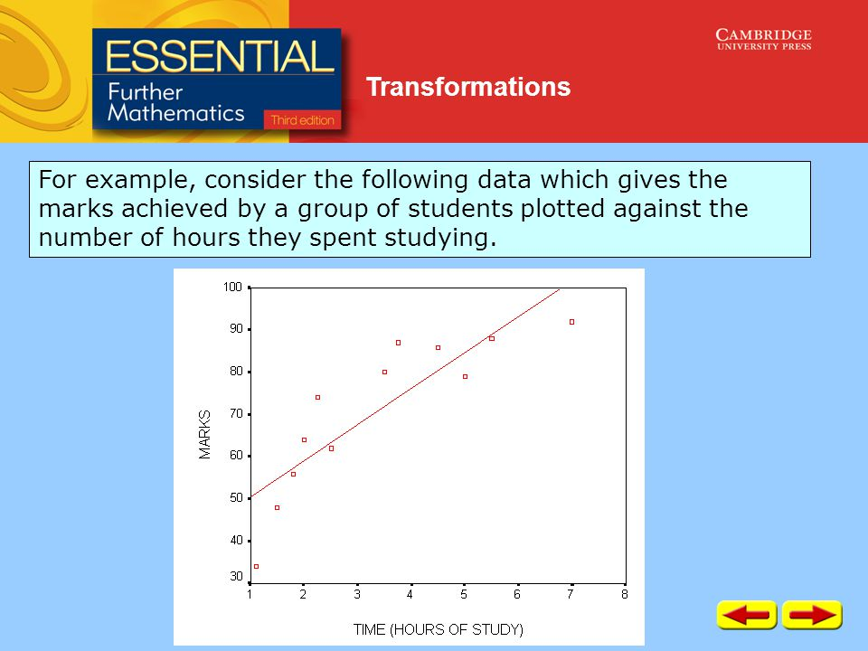 Transformations For example, consider the following data which gives the marks achieved by a group of students plotted against the number of hours they spent studying.