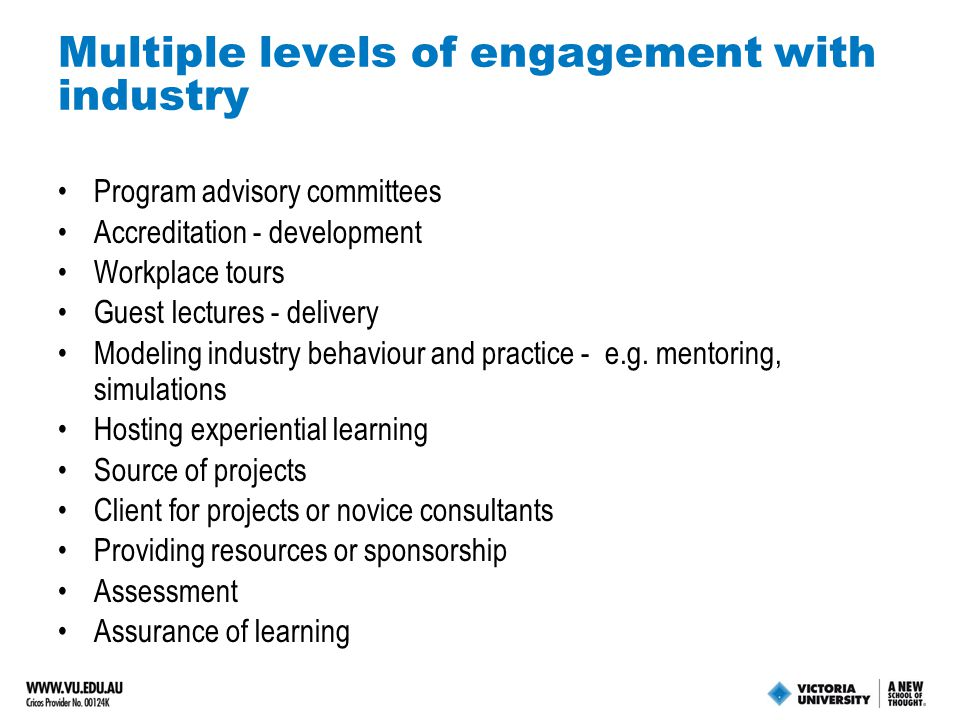 Multiple levels of engagement with industry Program advisory committees Accreditation - development Workplace tours Guest lectures - delivery Modeling industry behaviour and practice - e.g.