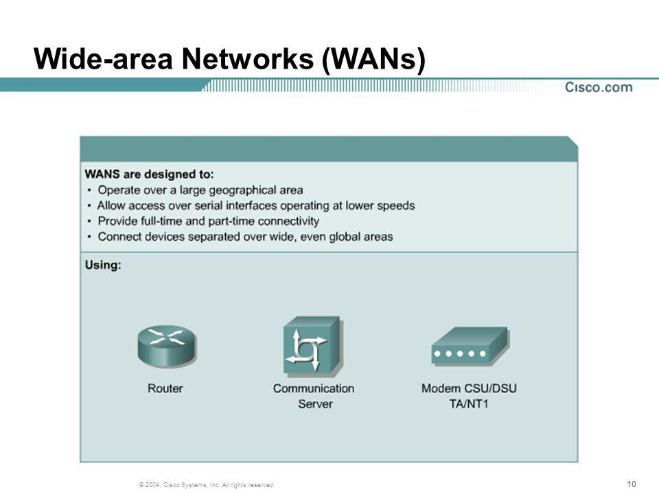 10 © 2004, Cisco Systems, Inc. All rights reserved. Wide-area Networks (WANs)