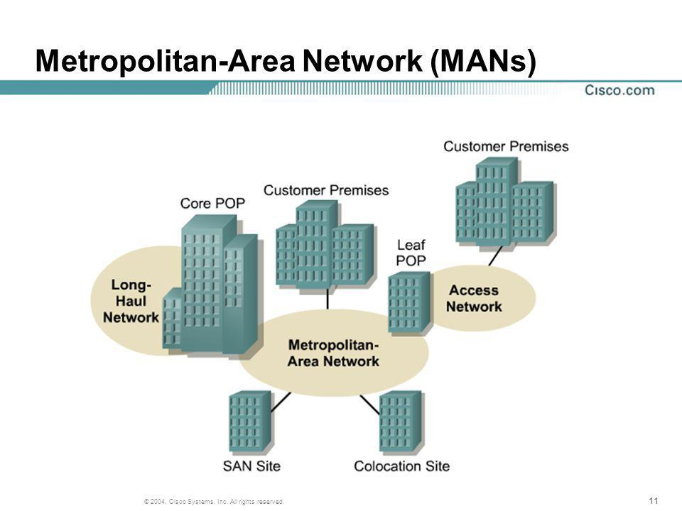 11 © 2004, Cisco Systems, Inc. All rights reserved. Metropolitan-Area Network (MANs)