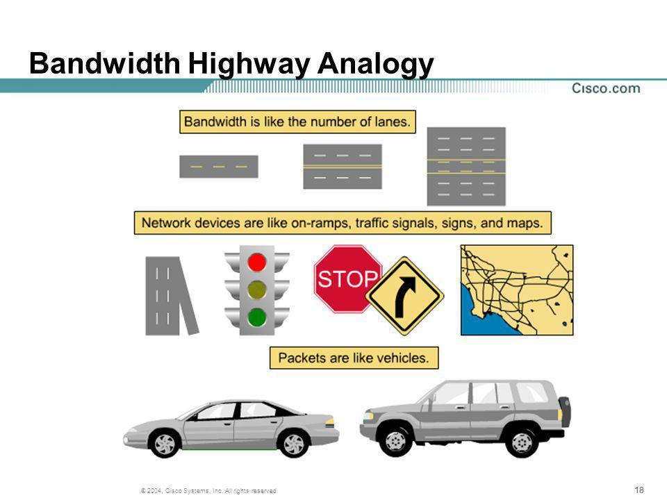 18 © 2004, Cisco Systems, Inc. All rights reserved. Bandwidth Highway Analogy