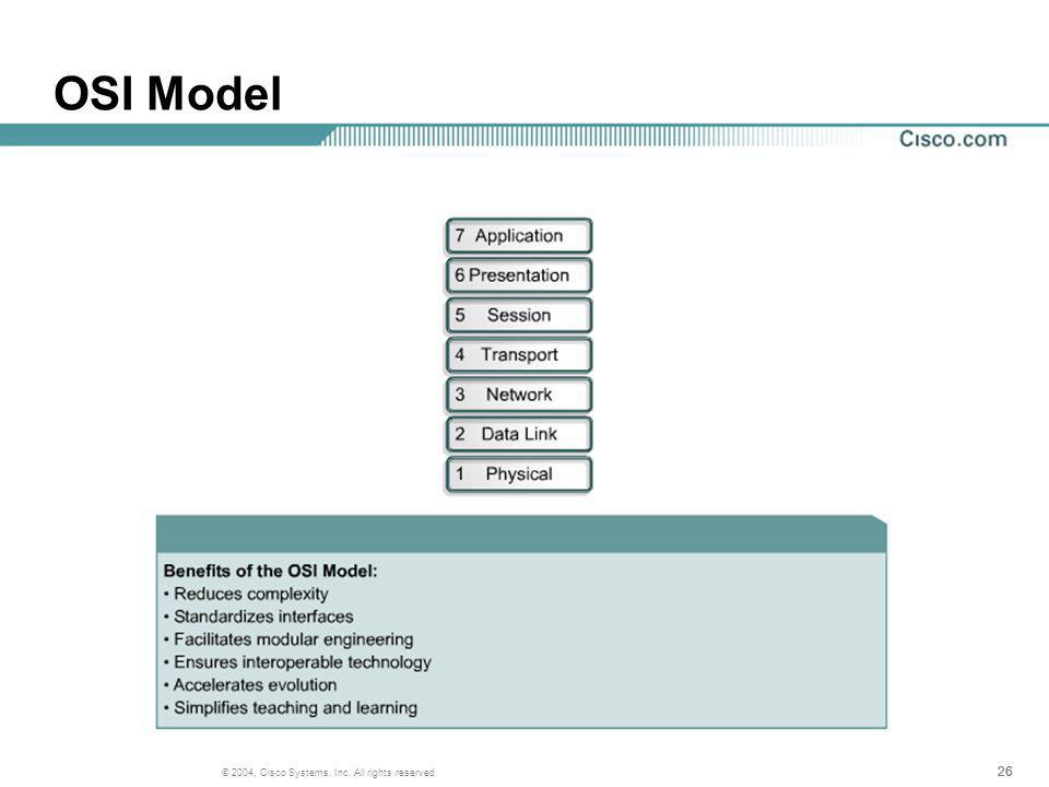 26 © 2004, Cisco Systems, Inc. All rights reserved. OSI Model