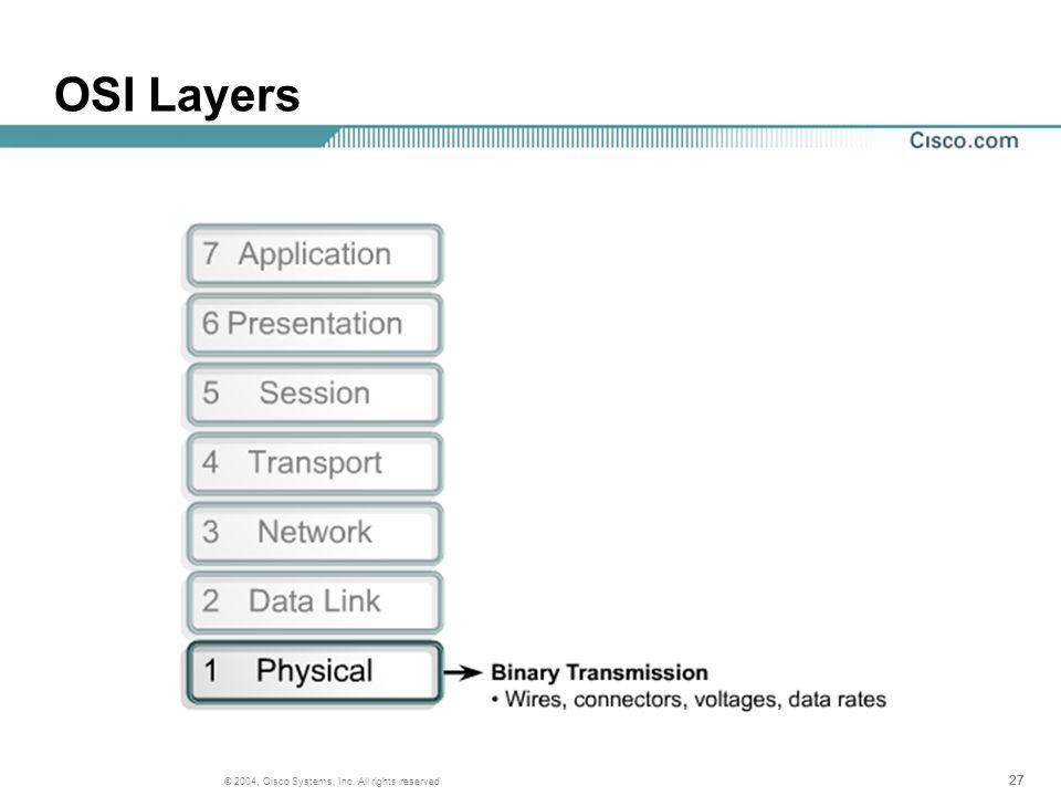 27 © 2004, Cisco Systems, Inc. All rights reserved. OSI Layers