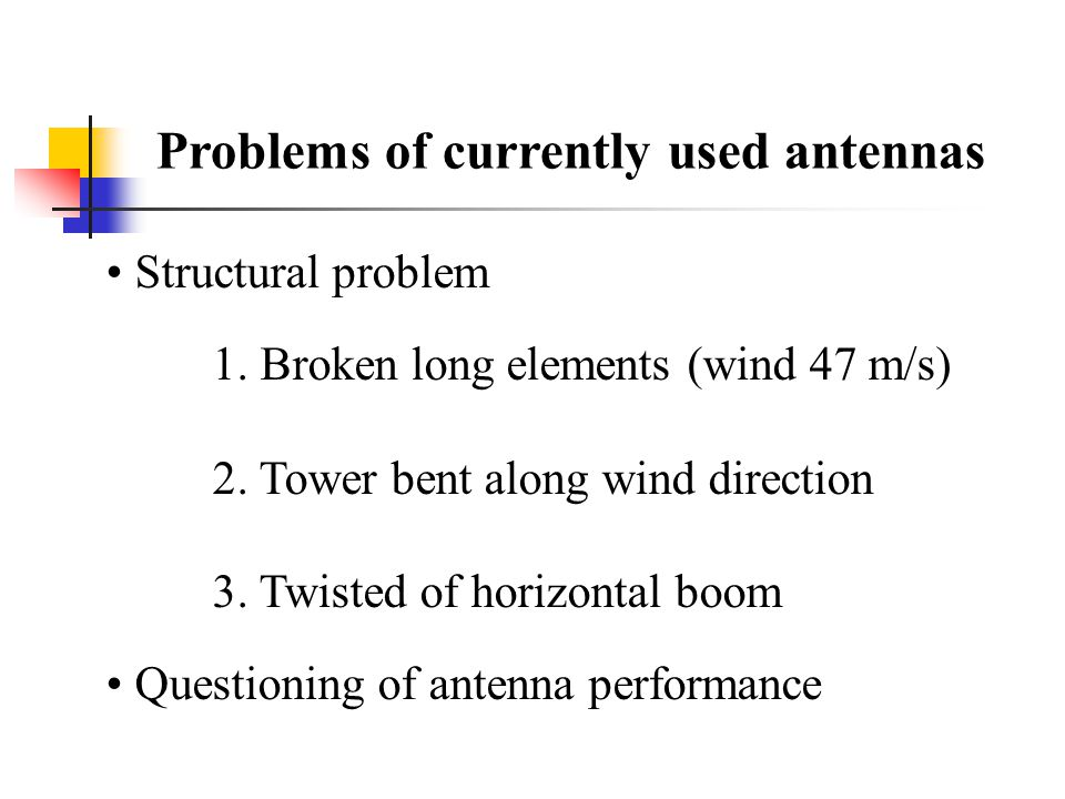 Problems of currently used antennas Structural problem 1.