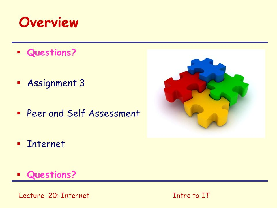 Lecture 20: InternetIntro to IT Introduction to IT 1 Introduction 2 Images 3 Audio 4 Video WebLearnTest 1 5 Binary Representation Assignment 1 6 Data Storage 7 Machine Processing 8 Operating Systems WebLearn Test 2 9 Processes Assignment 2 10 Internet 11 Internet Security WebLearn Test 3 12 Future of ITAssignment 3, Peer and Self Assessment