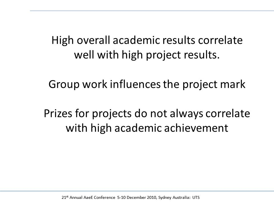 21 st Annual AaeE Conference 5-10 December 2010, Sydney Australia: UTS High overall academic results correlate well with high project results.