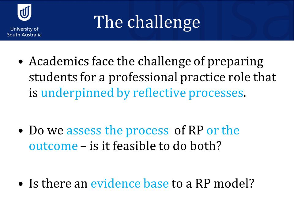 The challenge Academics face the challenge of preparing students for a professional practice role that is underpinned by reflective processes.