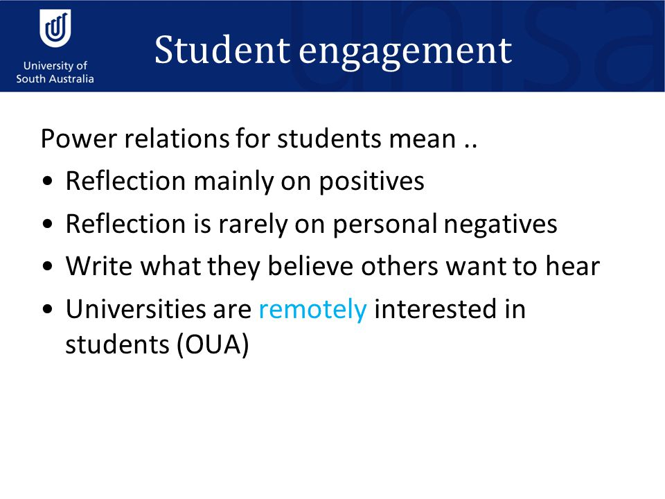 Student engagement Power relations for students mean..
