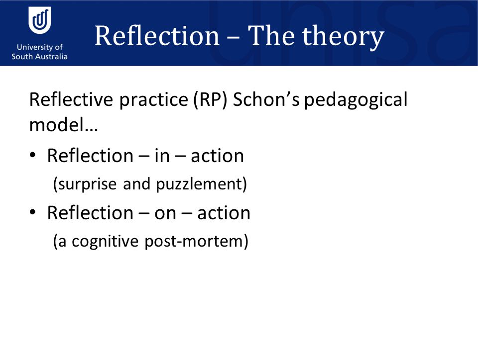 Reflection – The theory Reflective practice (RP) Schon's pedagogical model… Reflection – in – action (surprise and puzzlement) Reflection – on – action (a cognitive post-mortem)