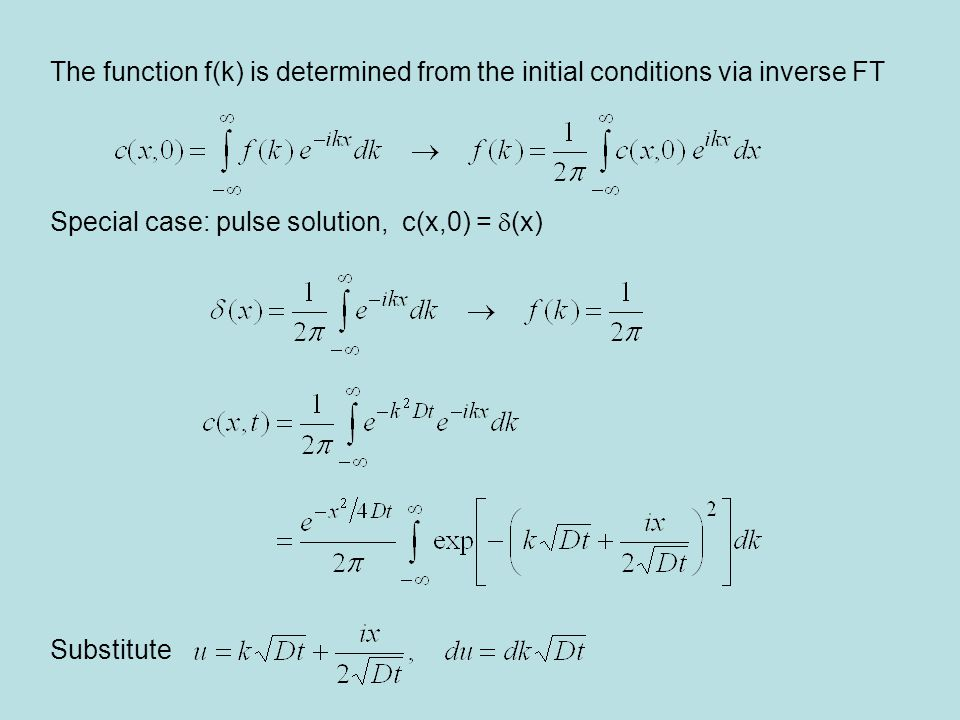 The function f(k) is determined from the initial conditions via inverse FT Special case: pulse solution, c(x,0) =  (x) Substitute