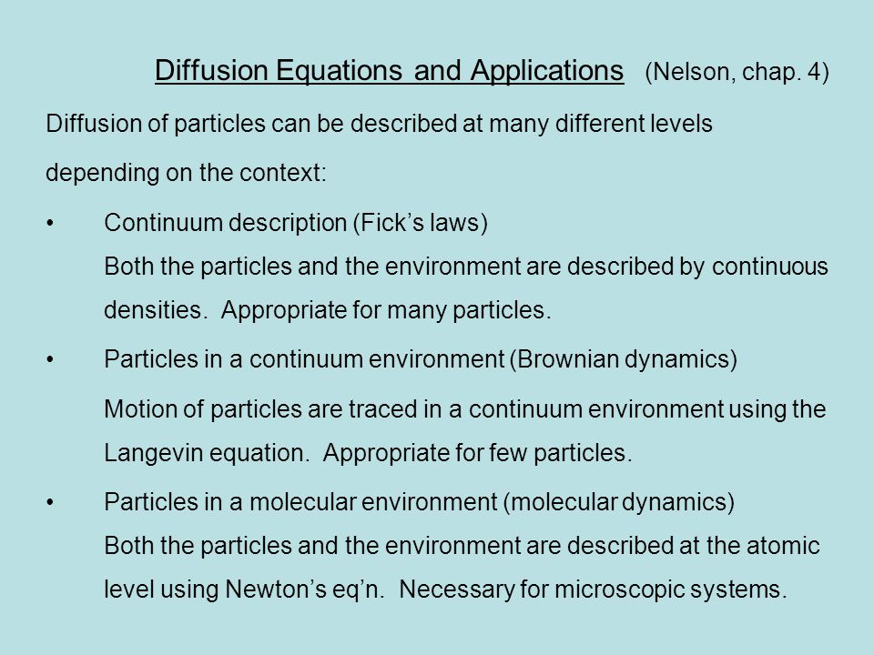Diffusion Equations and Applications (Nelson, chap.