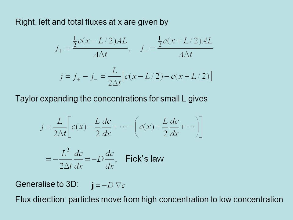 Right, left and total fluxes at x are given by Taylor expanding the concentrations for small L gives Generalise to 3D: Flux direction: particles move from high concentration to low concentration