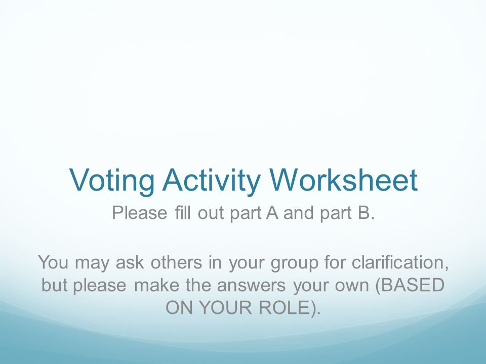 Voting Activity Worksheet Please fill out part A and part B.