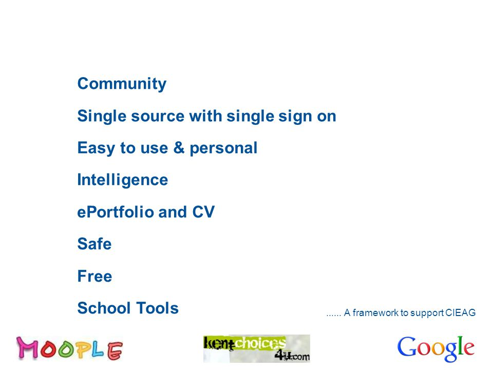 Overview Community Single source with single sign on Easy to use & personal Intelligence ePortfolio and CV Safe Free School Tools......