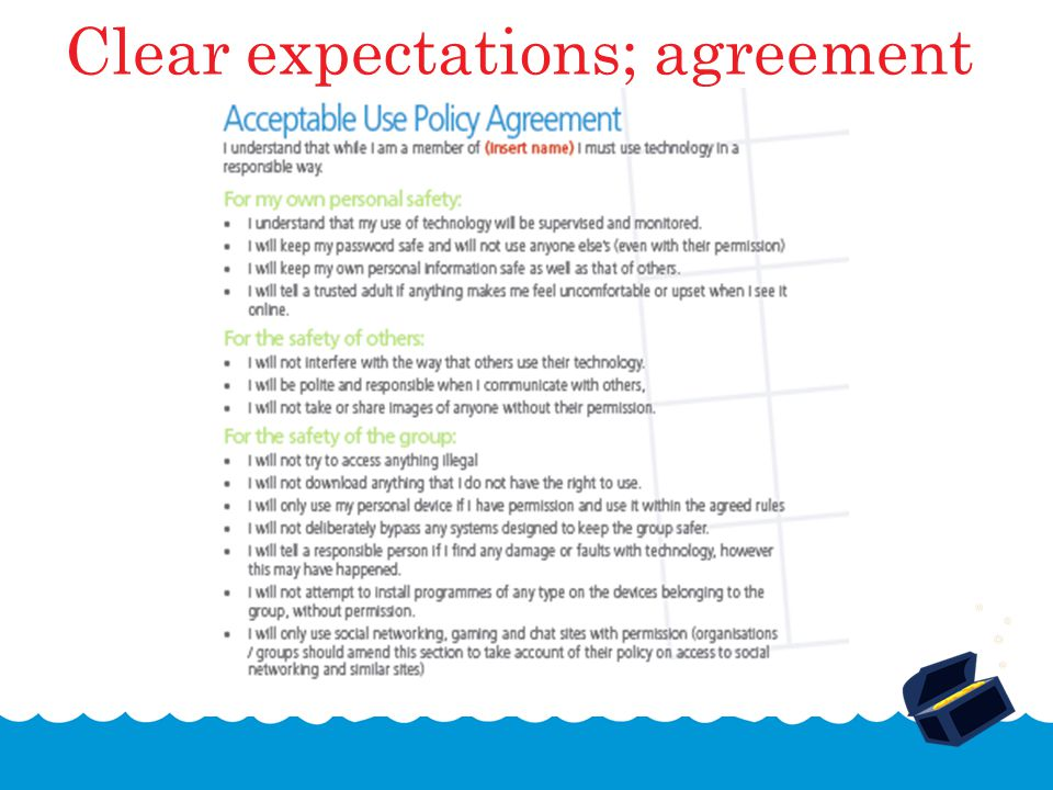 Clear expectations; agreement