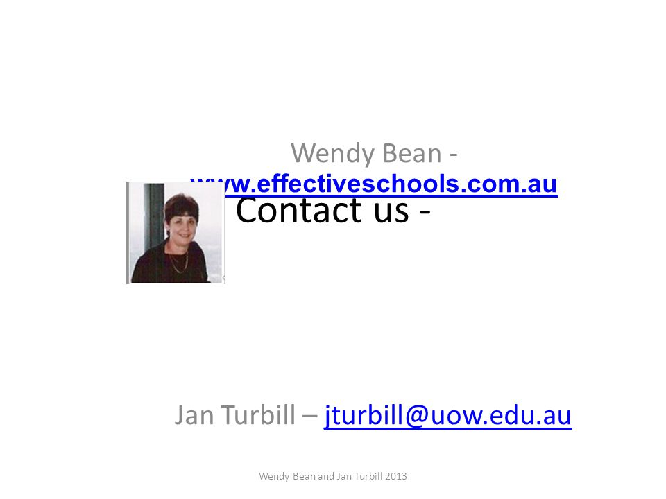 Contact us - Wendy Bean - www.effectiveschools.com.au www.effectiveschools.com.au Jan Turbill – jturbill@uow.edu.aujturbill@uow.edu.au Wendy Bean and Jan Turbill 2013