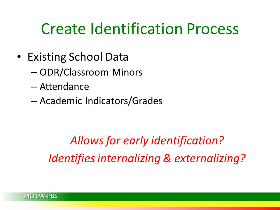 Existing School Data – ODR/Classroom Minors – Attendance – Academic Indicators/Grades Allows for early identification.