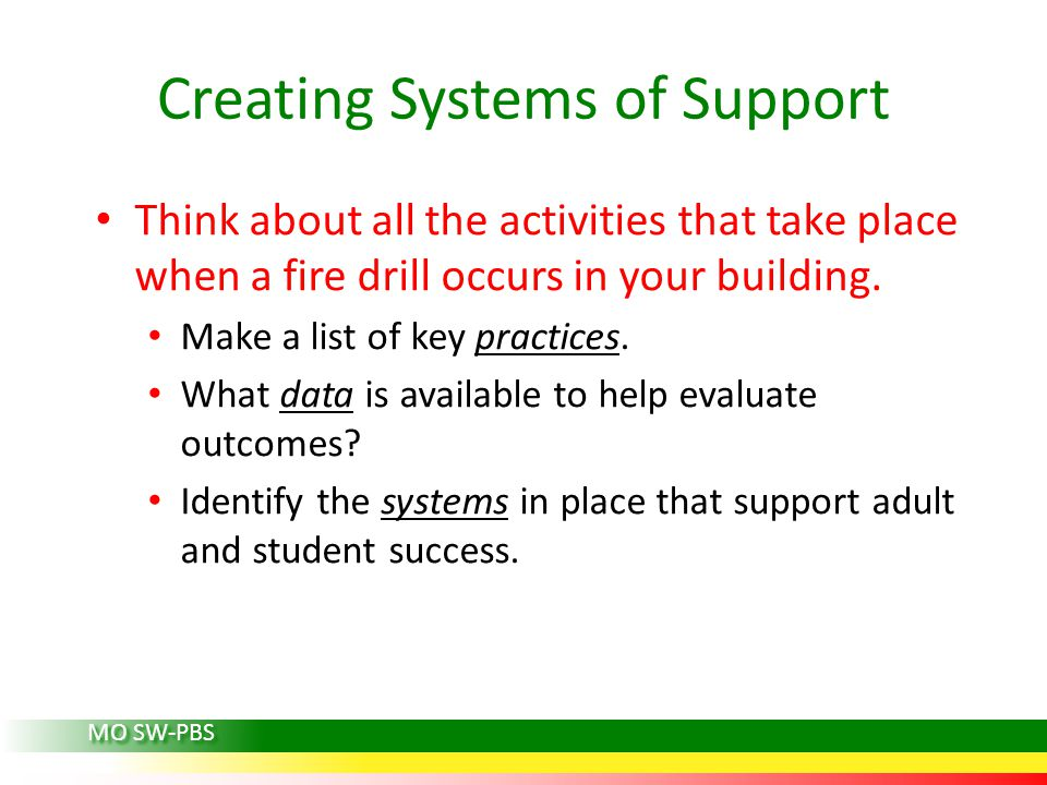 Think about all the activities that take place when a fire drill occurs in your building.