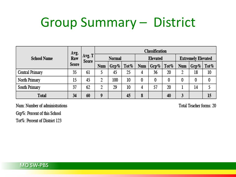 Group Summary – District MO SW-PBS