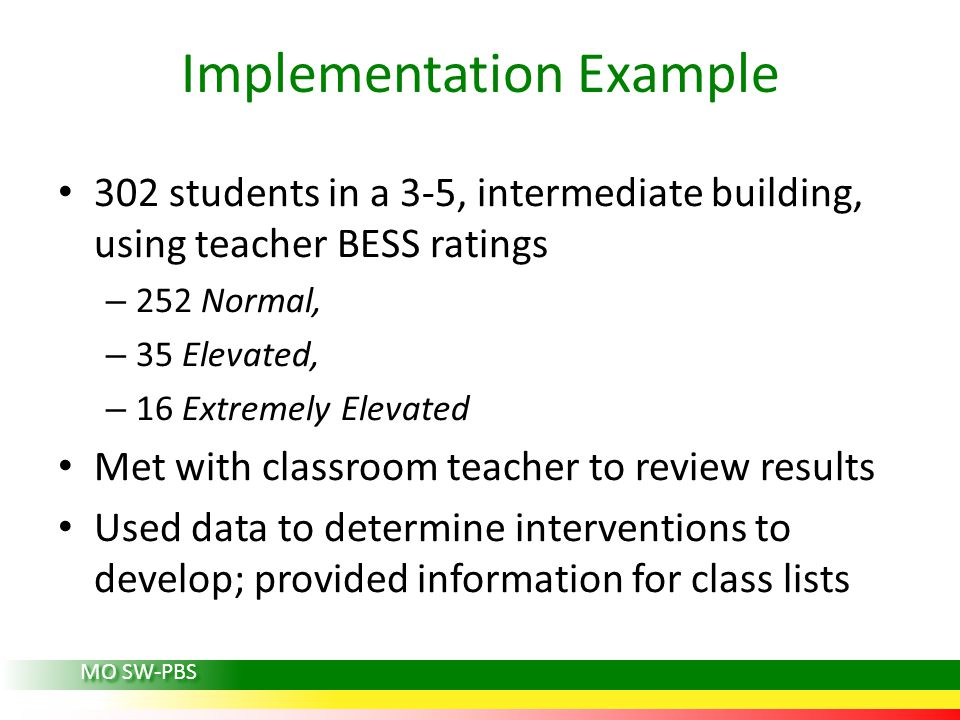 Implementation Example 302 students in a 3-5, intermediate building, using teacher BESS ratings – 252 Normal, – 35 Elevated, – 16 Extremely Elevated Met with classroom teacher to review results Used data to determine interventions to develop; provided information for class lists MO SW-PBS
