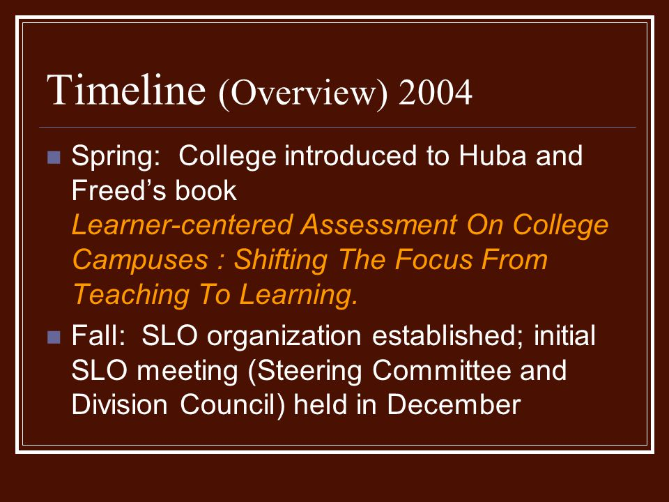 Timeline (Overview) 2004 Spring: College introduced to Huba and Freed's book Learner-centered Assessment On College Campuses : Shifting The Focus From Teaching To Learning.