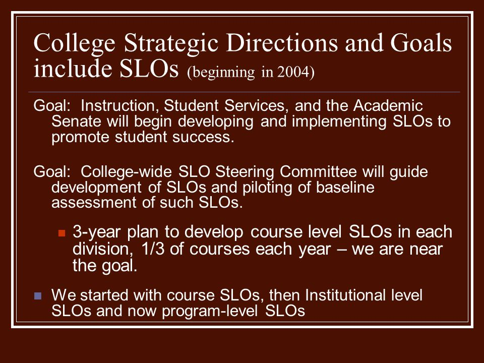 College Strategic Directions and Goals include SLOs (beginning in 2004) Goal: Instruction, Student Services, and the Academic Senate will begin developing and implementing SLOs to promote student success.