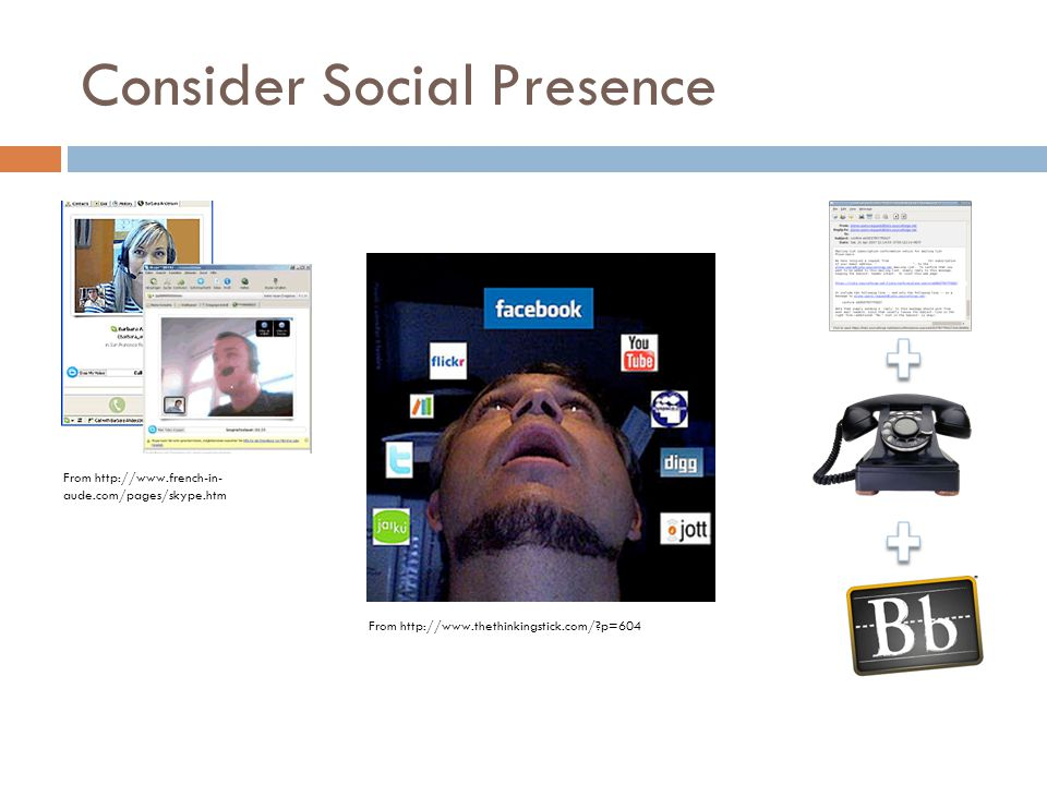 Consider Social Presence From http://www.thethinkingstick.com/ p=604 From http://www.french-in- aude.com/pages/skype.htm