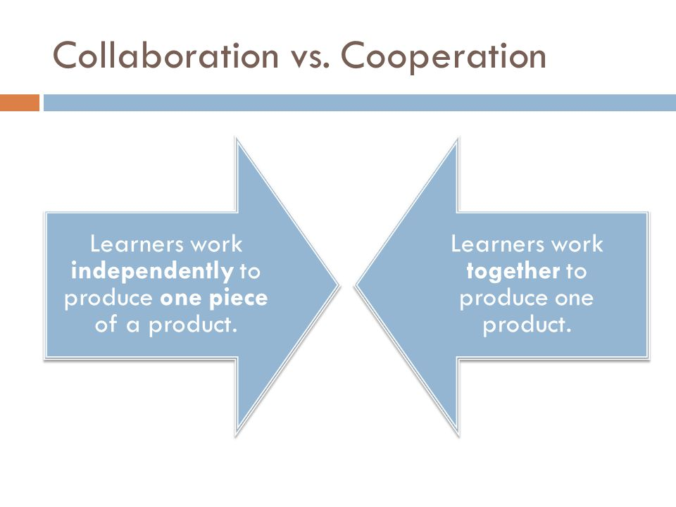 Collaboration vs. Cooperation Learners work independently to produce one piece of a product.