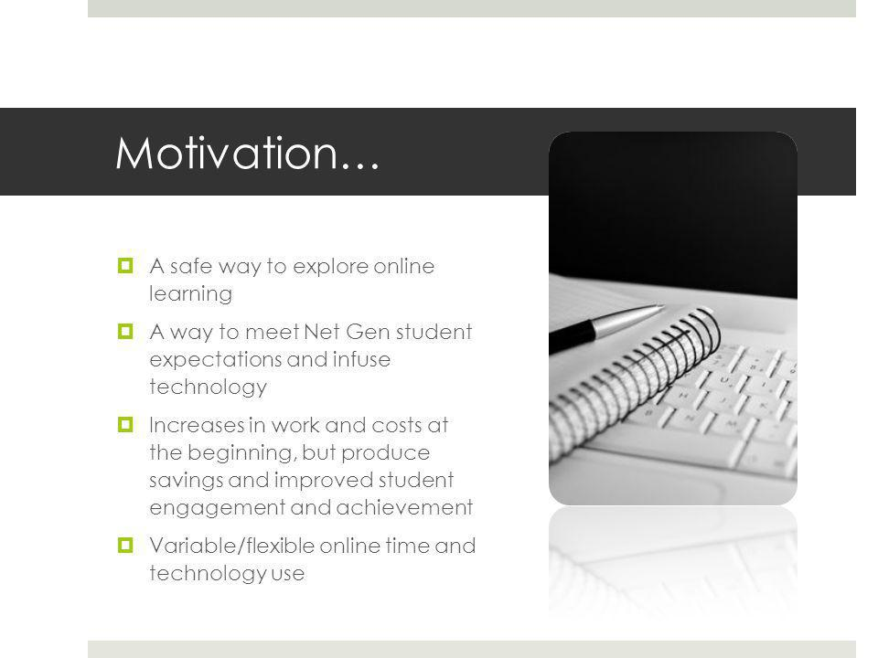 Motivation…  A safe way to explore online learning  A way to meet Net Gen student expectations and infuse technology  Increases in work and costs at the beginning, but produce savings and improved student engagement and achievement  Variable/flexible online time and technology use