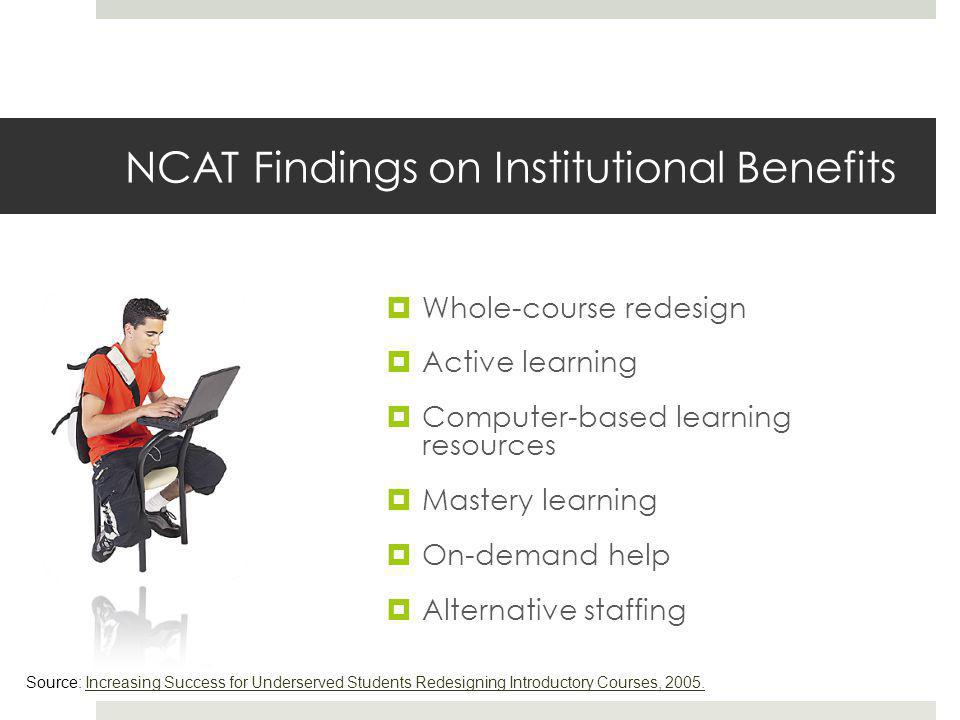 NCAT Findings on Institutional Benefits  Whole-course redesign  Active learning  Computer-based learning resources  Mastery learning  On-demand help  Alternative staffing Source: Increasing Success for Underserved Students Redesigning Introductory Courses, 2005.Increasing Success for Underserved Students Redesigning Introductory Courses, 2005.