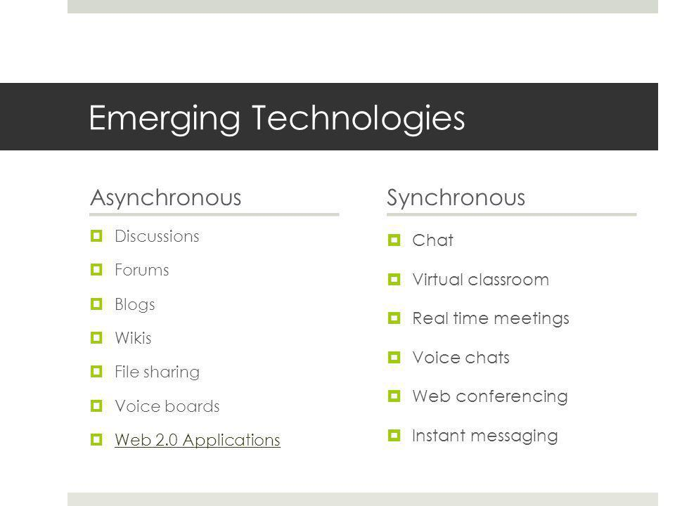 Emerging Technologies Asynchronous  Discussions  Forums  Blogs  Wikis  File sharing  Voice boards  Web 2.0 Applications Web 2.0 Applications Synchronous  Chat  Virtual classroom  Real time meetings  Voice chats  Web conferencing  Instant messaging