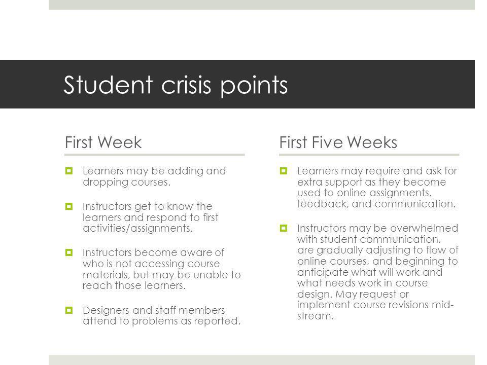 Student crisis points First Week  Learners may be adding and dropping courses.