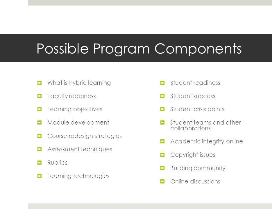 Possible Program Components  What is hybrid learning  Faculty readiness  Learning objectives  Module development  Course redesign strategies  Assessment techniques  Rubrics  Learning technologies  Student readiness  Student success  Student crisis points  Student teams and other collaborations  Academic integrity online  Copyright issues  Building community  Online discussions