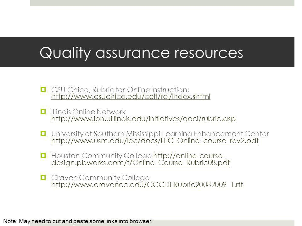 Quality assurance resources  CSU Chico, Rubric for Online Instruction: http://www.csuchico.edu/celt/roi/index.shtml http://www.csuchico.edu/celt/roi/index.shtml  Illinois Online Network http://www.ion.uillinois.edu/initiatives/qoci/rubric.asp http://www.ion.uillinois.edu/initiatives/qoci/rubric.asp  University of Southern Mississippi Learning Enhancement Center http://www.usm.edu/lec/docs/LEC_Online_course_rev2.pdf http://www.usm.edu/lec/docs/LEC_Online_course_rev2.pdf  Houston Community College http://online-course- design.pbworks.com/f/Online_Course_Rubric08.pdfhttp://online-course- design.pbworks.com/f/Online_Course_Rubric08.pdf  Craven Community College http://www.cravencc.edu/CCCDERubric20082009_1.rtf http://www.cravencc.edu/CCCDERubric20082009_1.rtf Note: May need to cut and paste some links into browser.