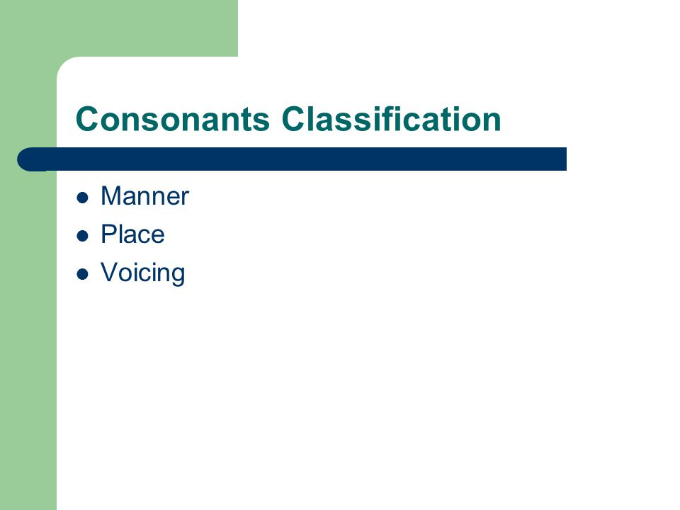 Consonants Classification Manner Place Voicing