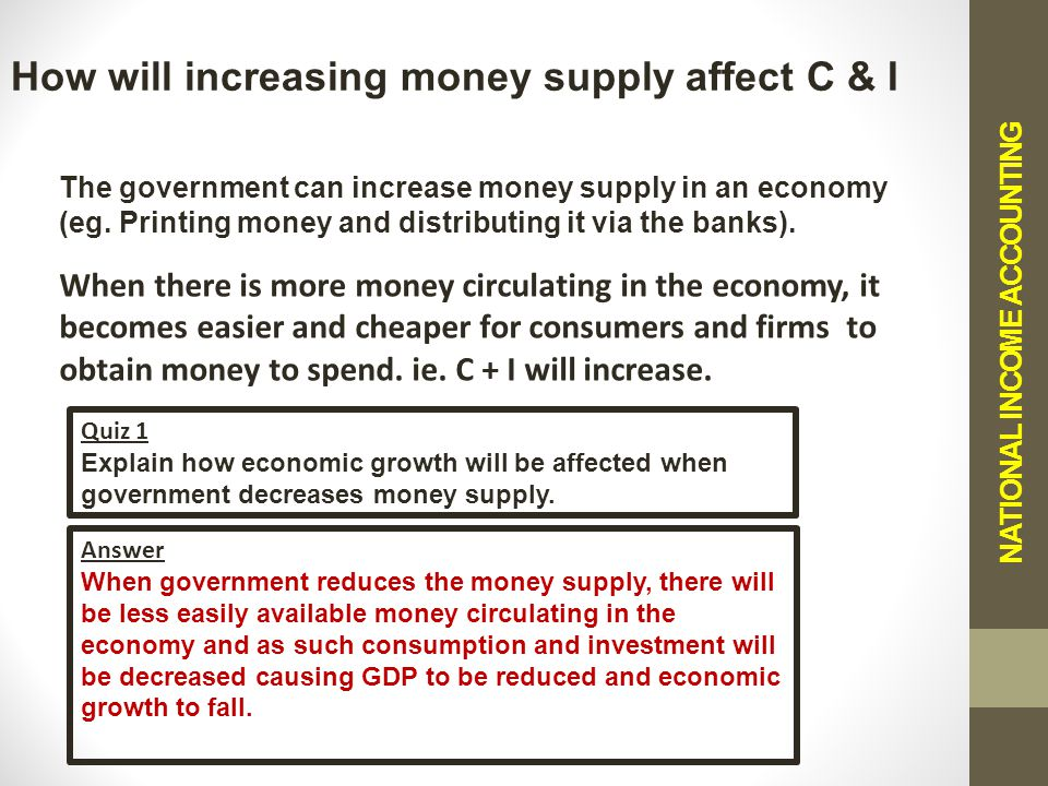 NATIONAL INCOME ACCOUNTING How will increasing money supply affect C & I The government can increase money supply in an economy (eg.