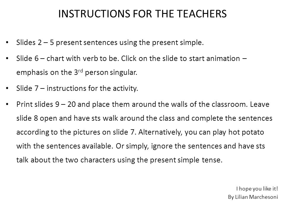 Instructions For The Teachers Slides 2 5 Present Sentences Using