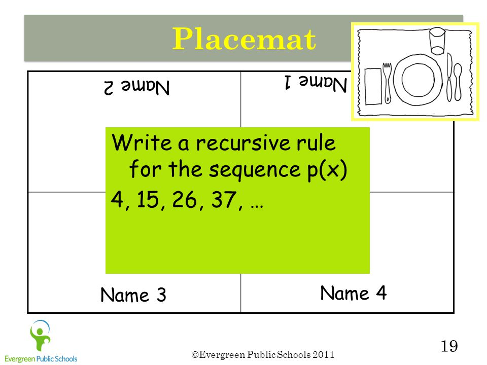 ©Evergreen Public Schools 2011 19 Placemat Write a recursive rule for the sequence p(x) 4, 15, 26, 37, … Name 1 Name 2 Name 3 Name 4