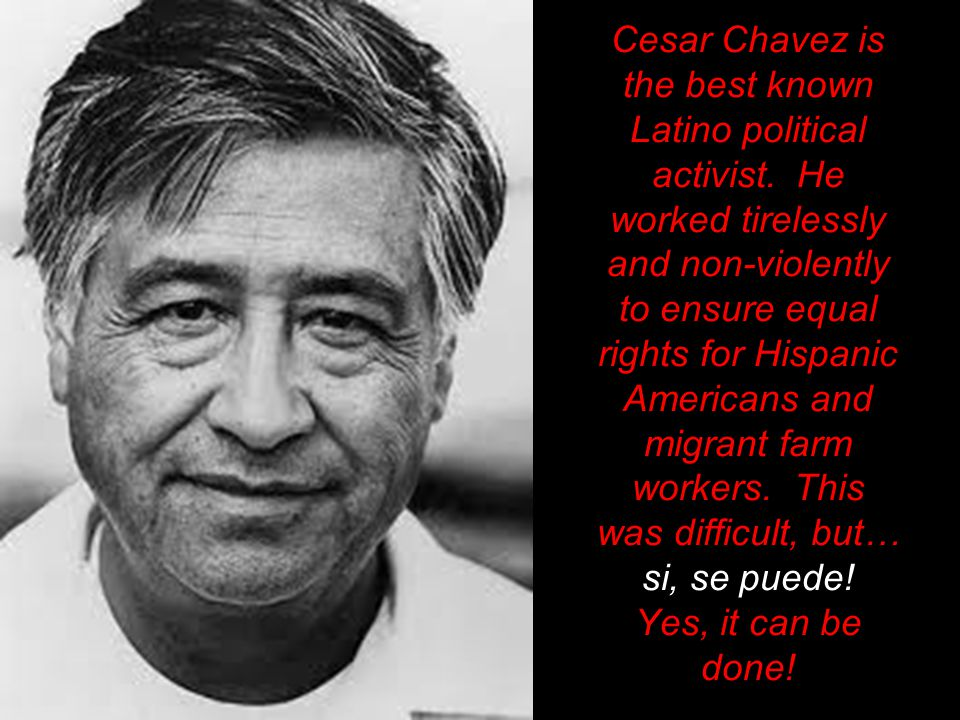 Cesar Chavez is the best known Latino political activist.