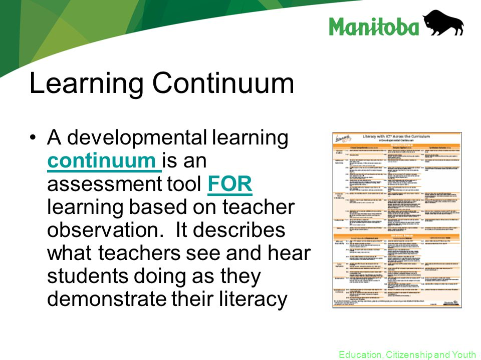 Education, Citizenship and Youth Learning Continuum A developmental learning continuum is an assessment tool FOR learning based on teacher observation.