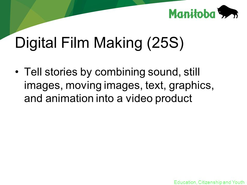 Education, Citizenship and Youth Digital Film Making (25S) Tell stories by combining sound, still images, moving images, text, graphics, and animation into a video product
