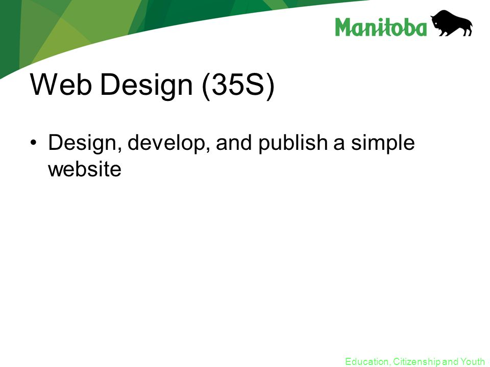 Education, Citizenship and Youth Web Design (35S) Design, develop, and publish a simple website