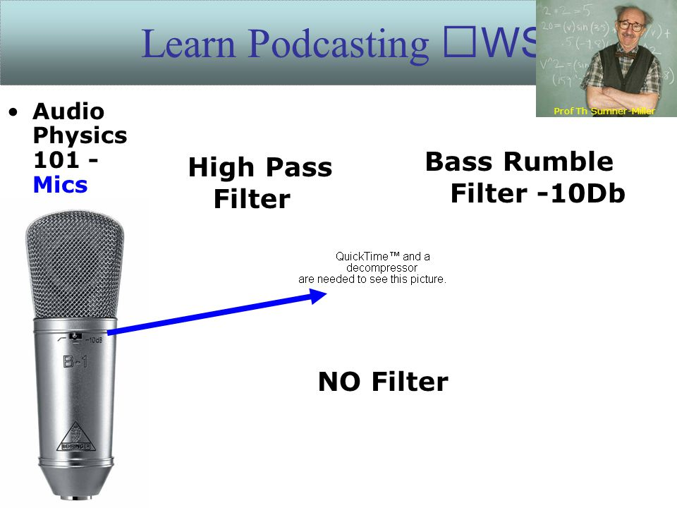 Learn Podcasting WS High Pass Filter NO Filter Bass Rumble Filter -10Db Prof Th Sumner-Miller Audio Physics 101 - Mics