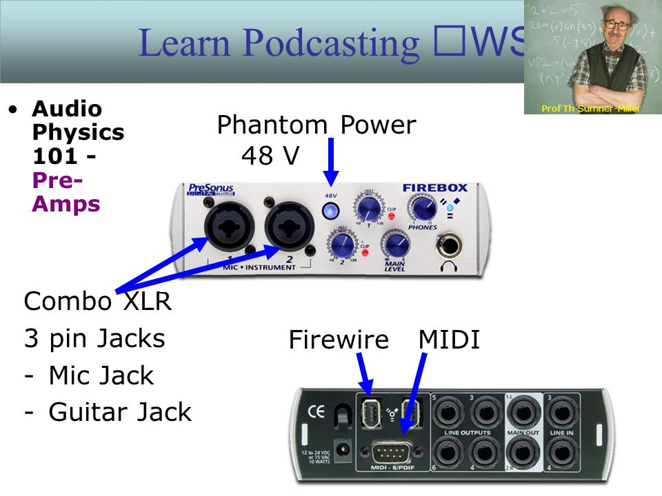 Learn Podcasting WS Combo XLR 3 pin Jacks -Mic Jack -Guitar Jack Phantom Power 48 V Firewire MIDI Prof Th Sumner-Miller Audio Physics 101 - Pre- Amps