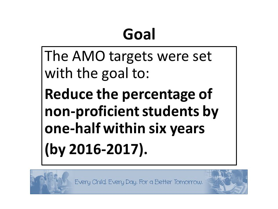 Goal The AMO targets were set with the goal to: Reduce the percentage of non-proficient students by one-half within six years (by 2016-2017).