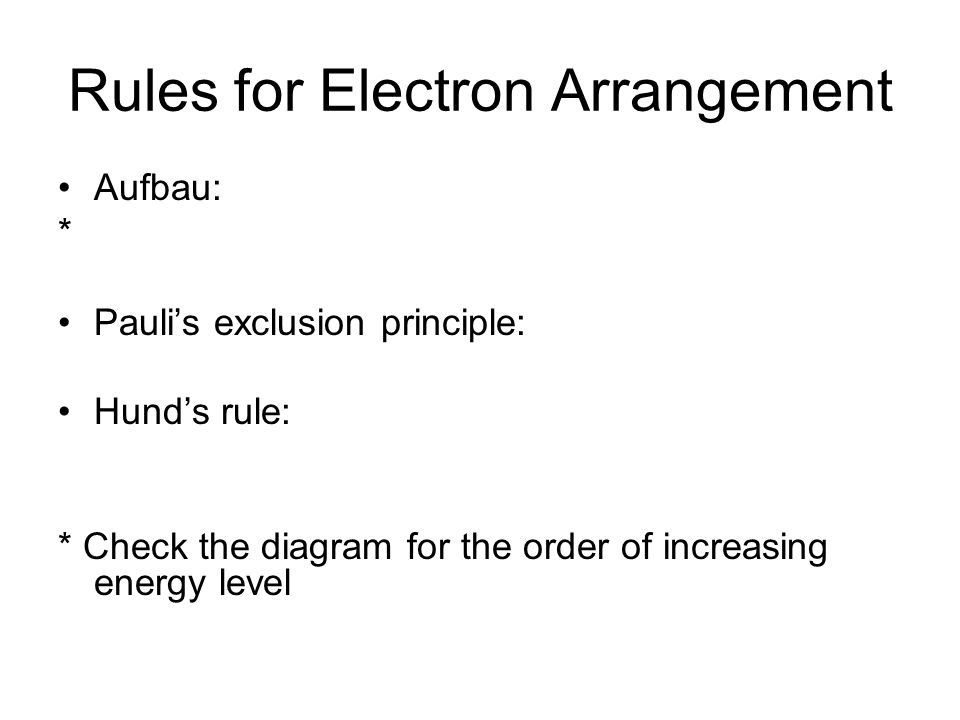 Rules for Electron Arrangement Aufbau: * Pauli's exclusion principle: Hund's rule: * Check the diagram for the order of increasing energy level