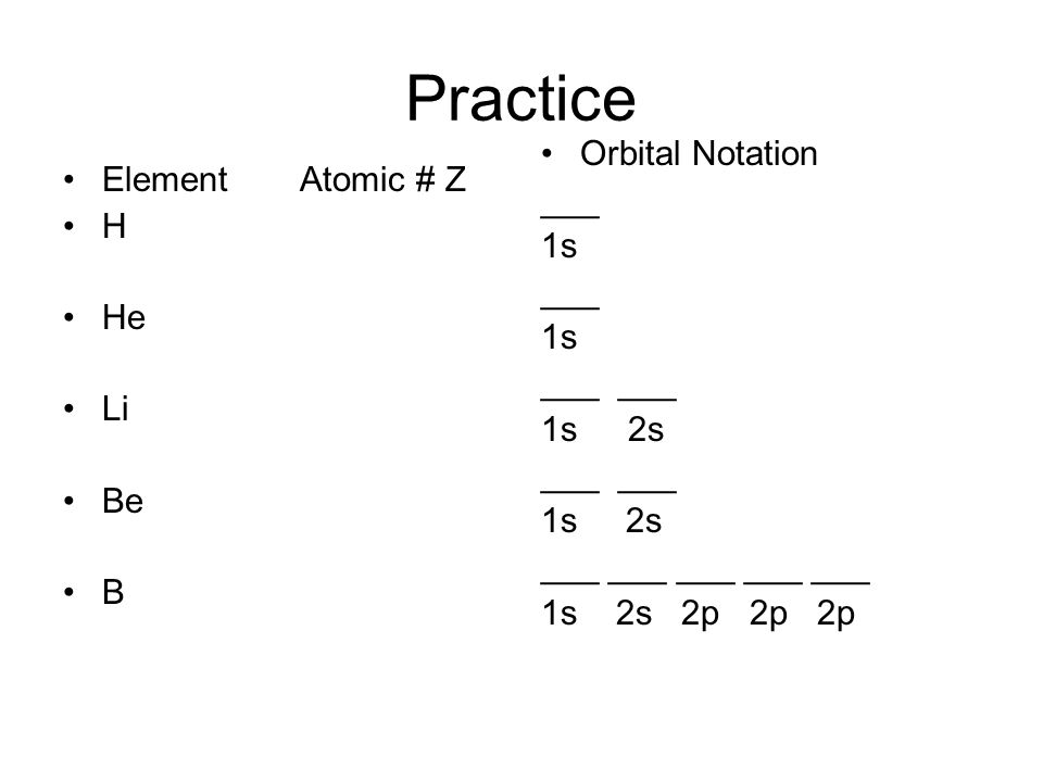 Practice Element Atomic # Z H He Li Be B Orbital Notation ___ 1s ___ 1s ___ 1s 2s ___ 1s 2s ___ ___ ___ ___ ___ 1s 2s 2p 2p 2p