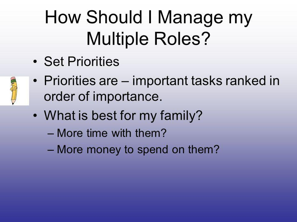 How Should I Manage my Multiple Roles.