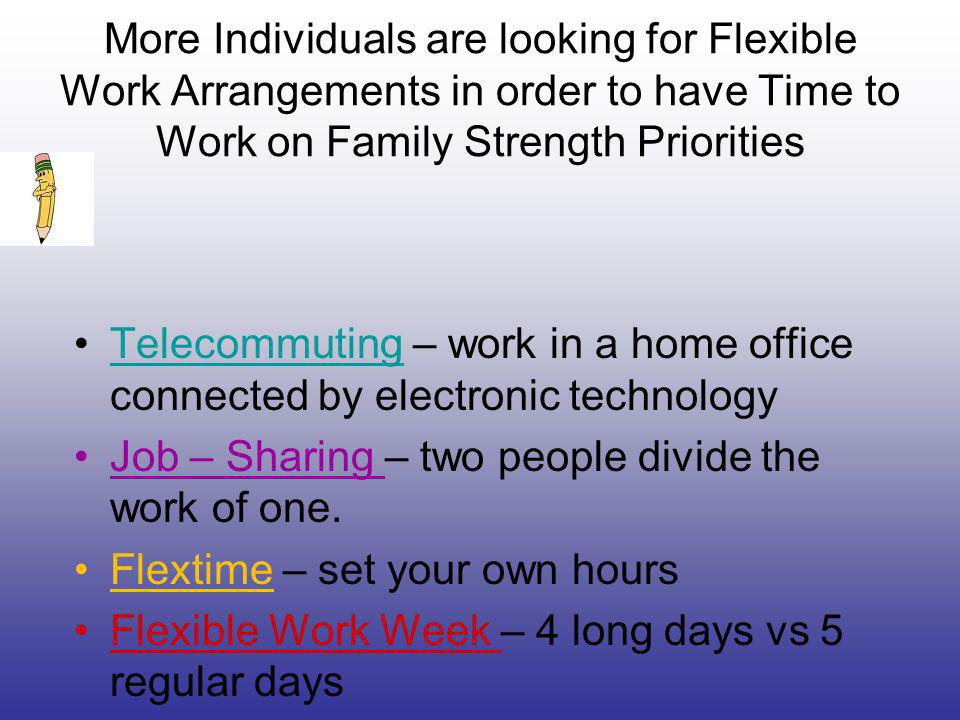 More Individuals are looking for Flexible Work Arrangements in order to have Time to Work on Family Strength Priorities Telecommuting – work in a home office connected by electronic technologyTelecommuting Job – Sharing – two people divide the work of one.