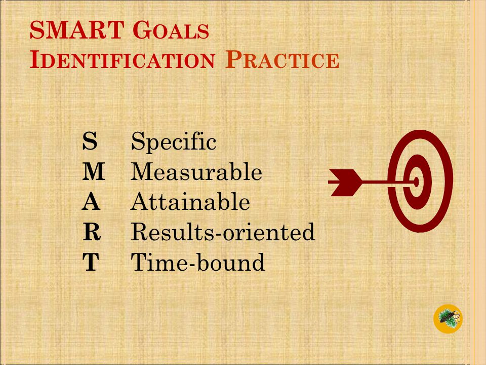 SMART G OALS I DENTIFICATION P RACTICE S Specific M Measurable A Attainable R Results-oriented T Time-bound